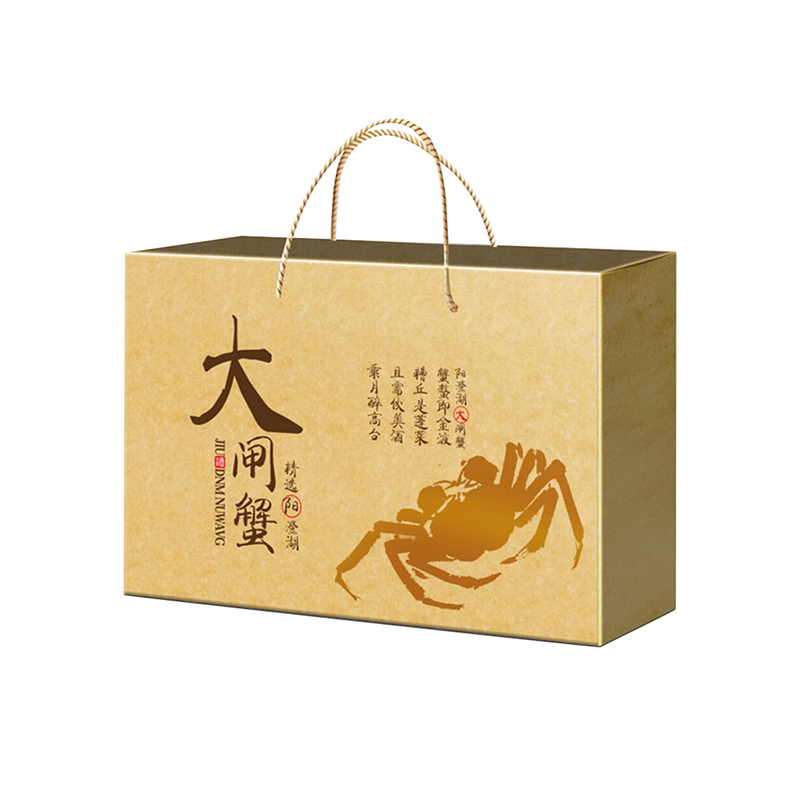 金色贵气高档大闸蟹礼盒设计定制